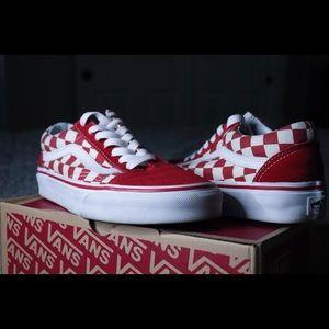 Red Old Skool Checkerboard Vans